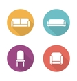Soft furniture flat design icons set vector image
