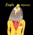 funny hipster predatory eagle on a black vector image