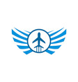 logo airplane wings transportation travel holiday vector image