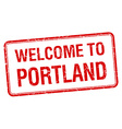 welcome to Portland red grunge square stamp vector image