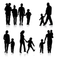 Black silhouettes Family on white background vector image