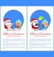merry christmas helping girl vector image