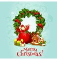 Christmas card with holly berry wreath and gift vector image