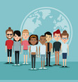 cartoon diversity group people world languages vector image