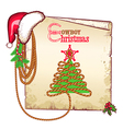 Christmas western background with red Santa hat vector image vector image