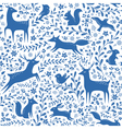 Blue Christmas forest pattern vector image