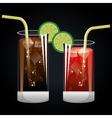 cocktails glasses cold black background design vector image