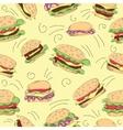 Fast food hamburger doodle set vector image