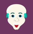 flat icons on theme funny bald-headed man vector image