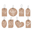 kraft gift tags with the inscription love and two vector image