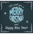 Merry Christmas chalkboard greeting card vector image