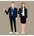 news anchor man woman standing holding microphone vector image