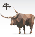 Ox polygon origami zodiac vector image