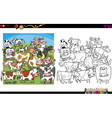 cow characters coloring book vector image vector image