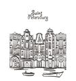 old houses art Saint Petersburg postcard vector image vector image