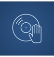 Disc with dj hand line icon vector image