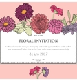 Floral horizontal invitation card vector image
