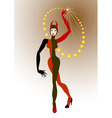 Harlequin woman juggling balls yellow vector image