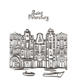old houses art Saint Petersburg postcard vector image