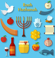 Rosh Hashanah Shana Tova or Jewish New year flat vector image