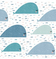 seamless pattern with cartoon whales childish vector image
