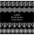 Set of white lace borders on black background vector image