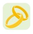 Wedding rings cartoon icon vector image
