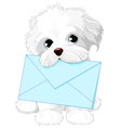 Cute Dog Delivering Mail Envelope vector image