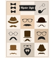 Hipster style mustache hat sunglasses set vector image
