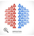 Two opposite teams with different opinions vector image vector image