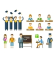 school college icons set graduate university vector image