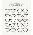 Hipster eye glasses icon set fashion vector image