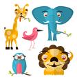 Animals - Giraffe Owl Bird Lion and Elephant vector image