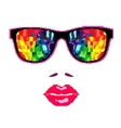 Halftone Glasses with female lips Background vector image