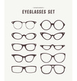 Hipster eye glasses icon set fashion vector image