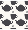 Silhouette of teapot and tea cup seamless pattern vector image