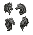 Black horse head mascot with tribal ornament vector image