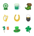 Saint Patrick day icons set cartoon style vector image