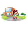 A cute student going home from school vector image