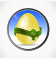 easter egg and ribbon in a metallic border vector image