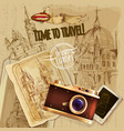 Europe Travel With Camera Vintage Poster vector image
