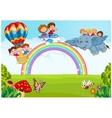Cartoon little kid on the rainbow vector image