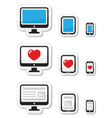 Computer screen tablet and smartphone icons vector image