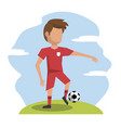 color scene with faceless athlete football player vector image