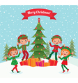 Elves and Christmas tree vector image