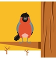 Happy Bullfinch on the Tree winter flat background vector image