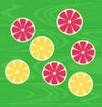 lemons and grapefruits on green wood table vector image
