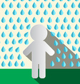 Paper Man in Rain Flat Design vector image