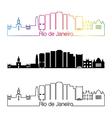 Rio de Janeiro V2 skyline linear style with vector image