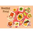 Meat dishes with seafood salad icon vector image